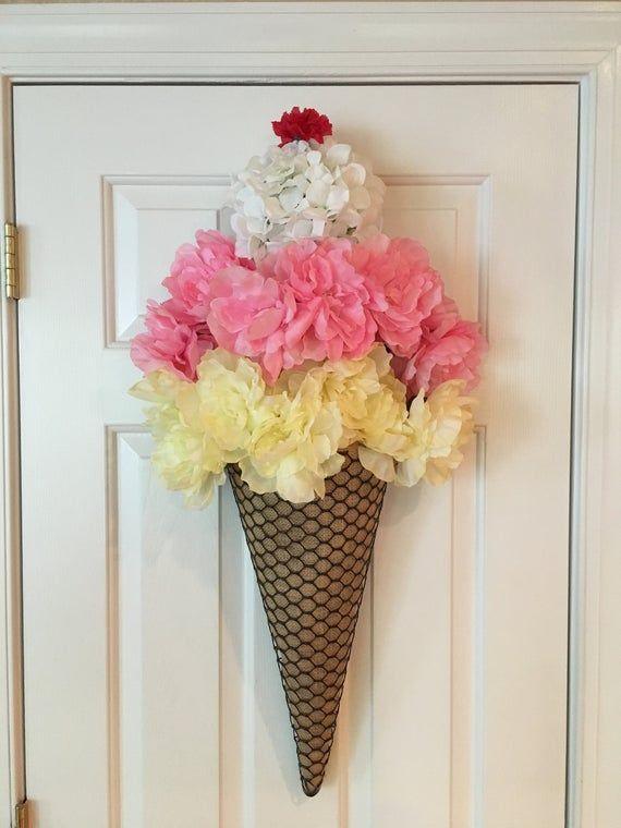 Photo of Corona di cono gelato; Ghirlanda estiva; Tela per appendiabiti porta gelato; Decorazione estiva