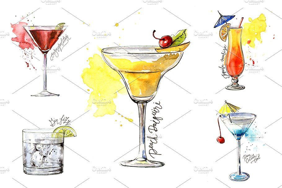 15 Watercolor Cocktails Sketches Cocktail Illustration Cocktail Art Cocktails Drawing