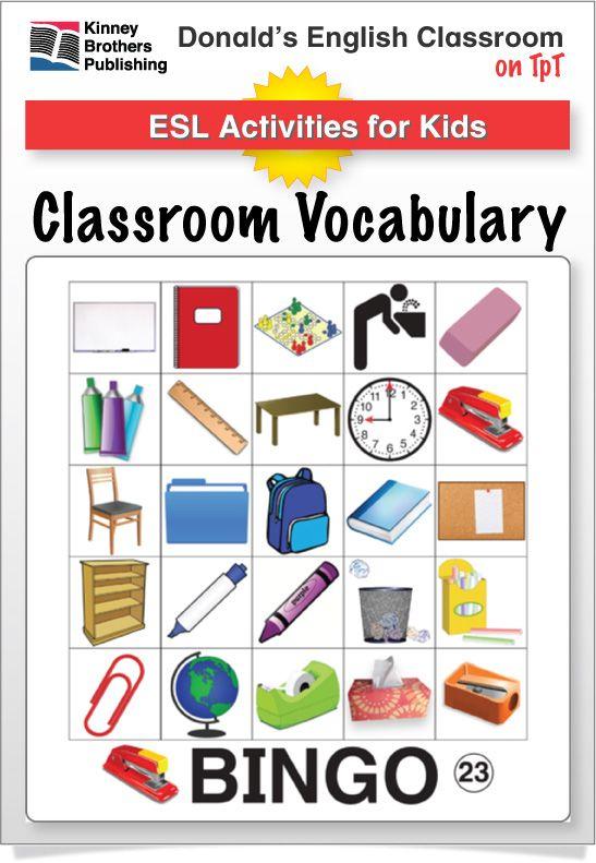 Classroom Vocabulary Bingo Vocabulary Teaching Vocabulary Literacy Activities Kindergarten