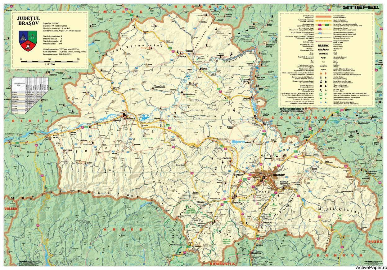 Harta Judetului Brasov 140 X 100 Cm Vintage World Maps Map Brasov