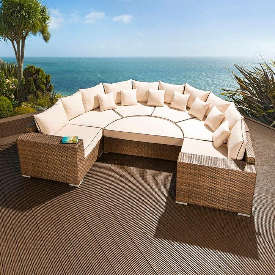 Large outdoor garden U shape 8 seater sofa group brown
