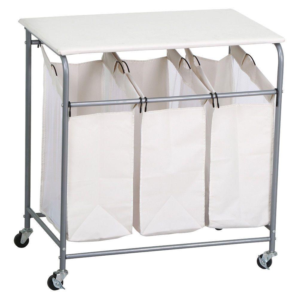 Laundry Basket Hamper Sorter Clothes Storage Folding Cart Bag Rolling  Organizer