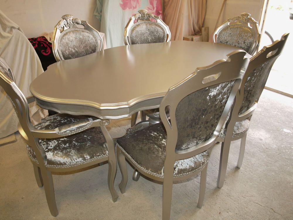 Absolutely Stunning Silver Glitz Shabby Chic Italian Table And 6 Inspiration Shabby Chic Dining Room Table Inspiration Design