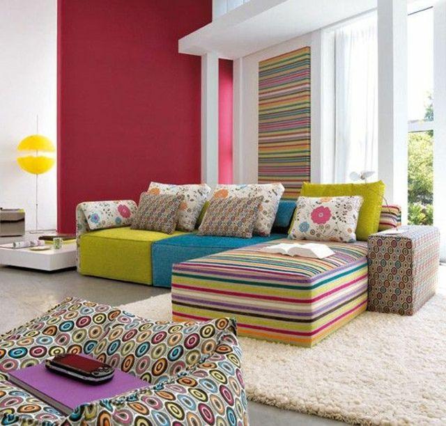 Salon déco de tempérament haut en couleurs | Séjour, En couleur et ...