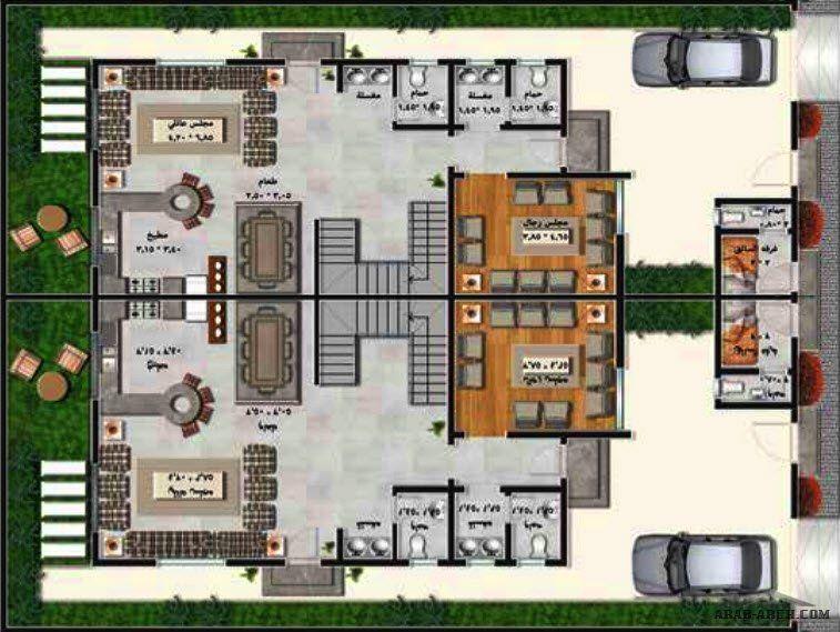 مخطط فيلا سعودي توين هاوس A من أعمال شركة عنان العقارية In 2021 House Plans Floor Plans Arch