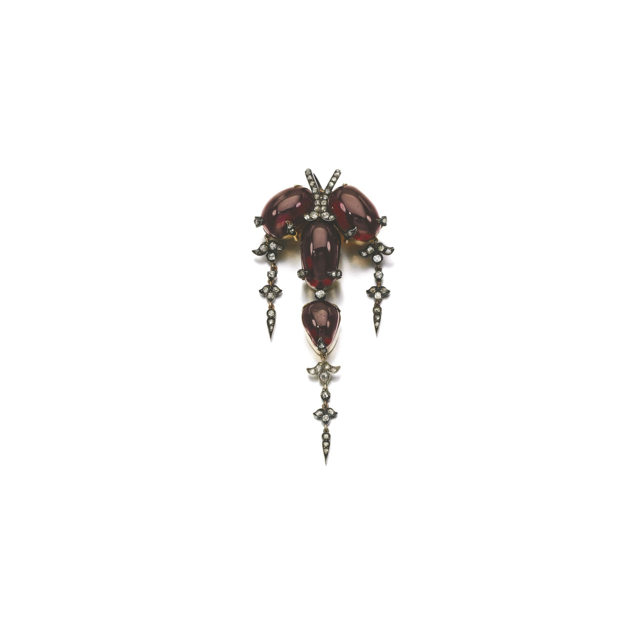 Garnet and diamond broochpendant s set with carbuncle garnets