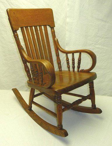 Antique Quarter Sawn Oak Child S Rocking Chair Victorian