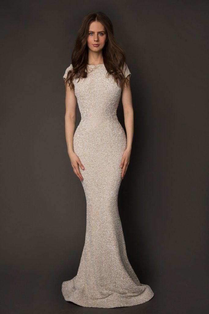 Limpasse Couture Cap Sleeve Beaded Sequin Gown