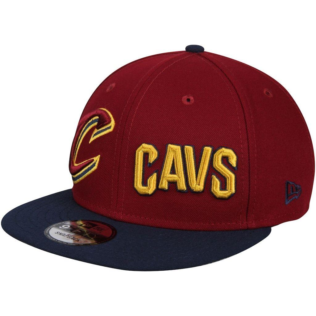 Men S New Era Wine Navy Cleveland Cavaliers Y2k Double Whammy 9fifty Adjustable Snapback Hat Snapback Hats Snapback Hats