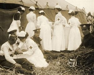 pinner writes: Nurses in WWl. The first war that allowed nurses to serve openly. Made possible by the Army Nurse Corps.