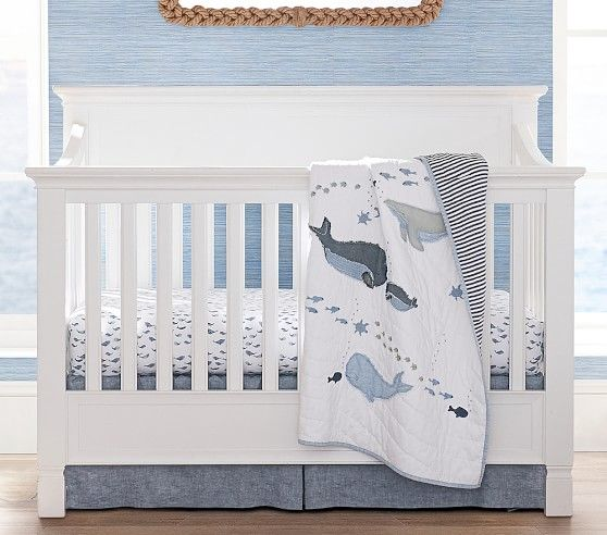 Organic Watercolor Whale Fitted Crib Sheet Nautical Baby