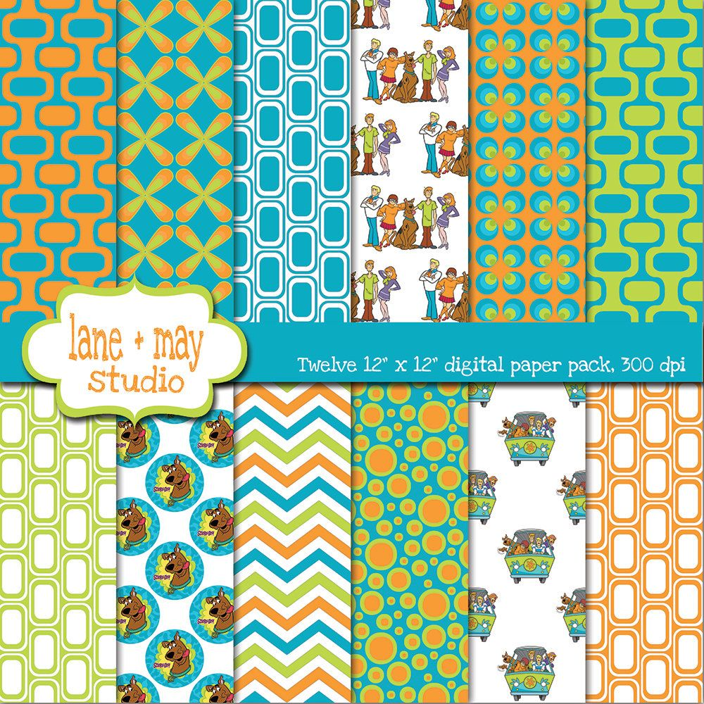 Scrapbook paper etsy - Digital Scrapbook Papers Groovy Patterns In Orange Green And Blue Instant Download