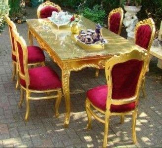 casa padrino barock esszimmerset bordeaux / gold - esstisch + 6, Esstisch ideennn