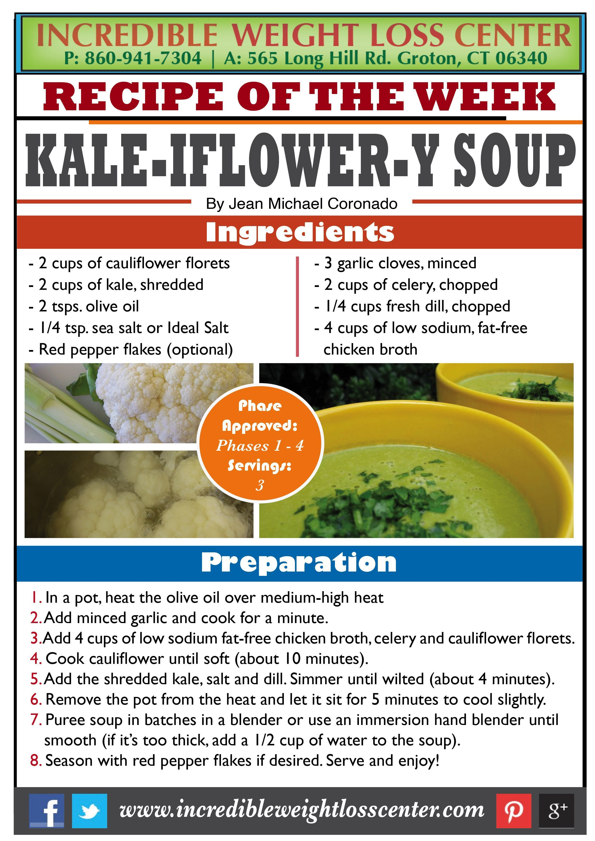 KALE, CAULIFLOWER & CELERY SOUP - PHASE 1 APPROVED  These delicious veggies will make a nutrient-packed soup! Something you can make for those cold days ahead of us.   #Recipe #Phase1Approved #Nutrition #Diet #WeightLoss #Vegetables #IdealProtein #DIY #Healthy #idealproteinrecipesphase1dinner