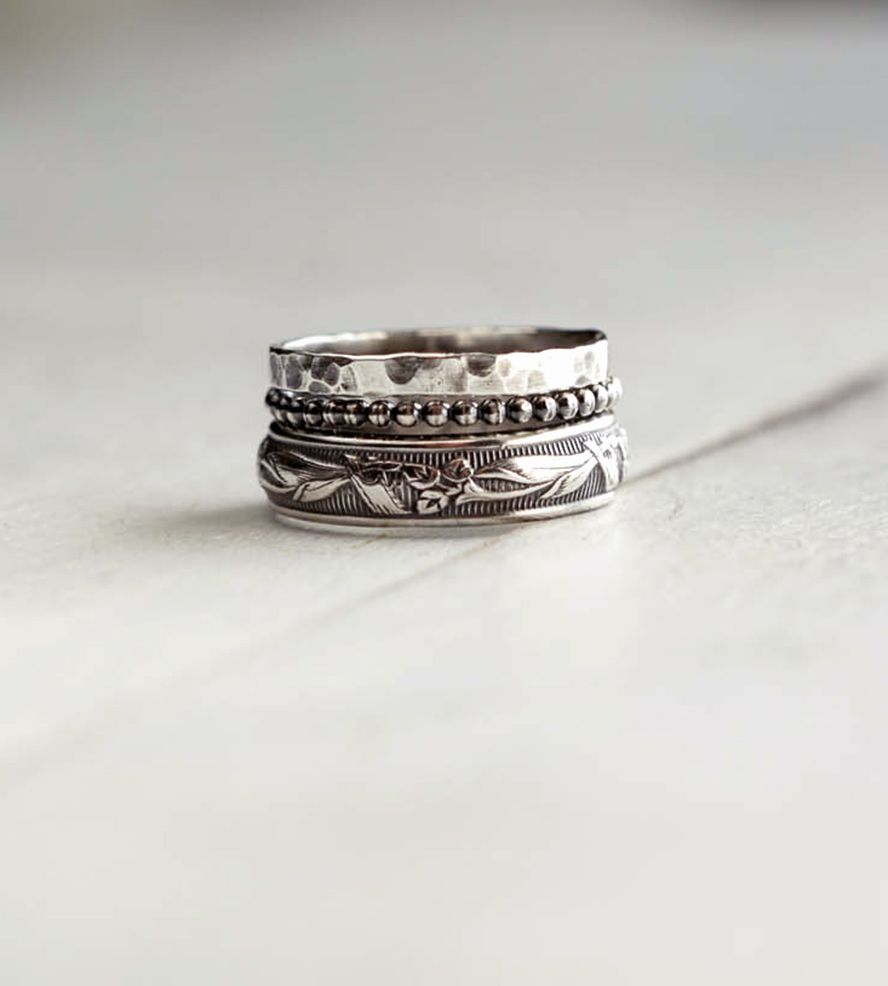 rustic sterling silver stacking ring assortment u2013 set of 3