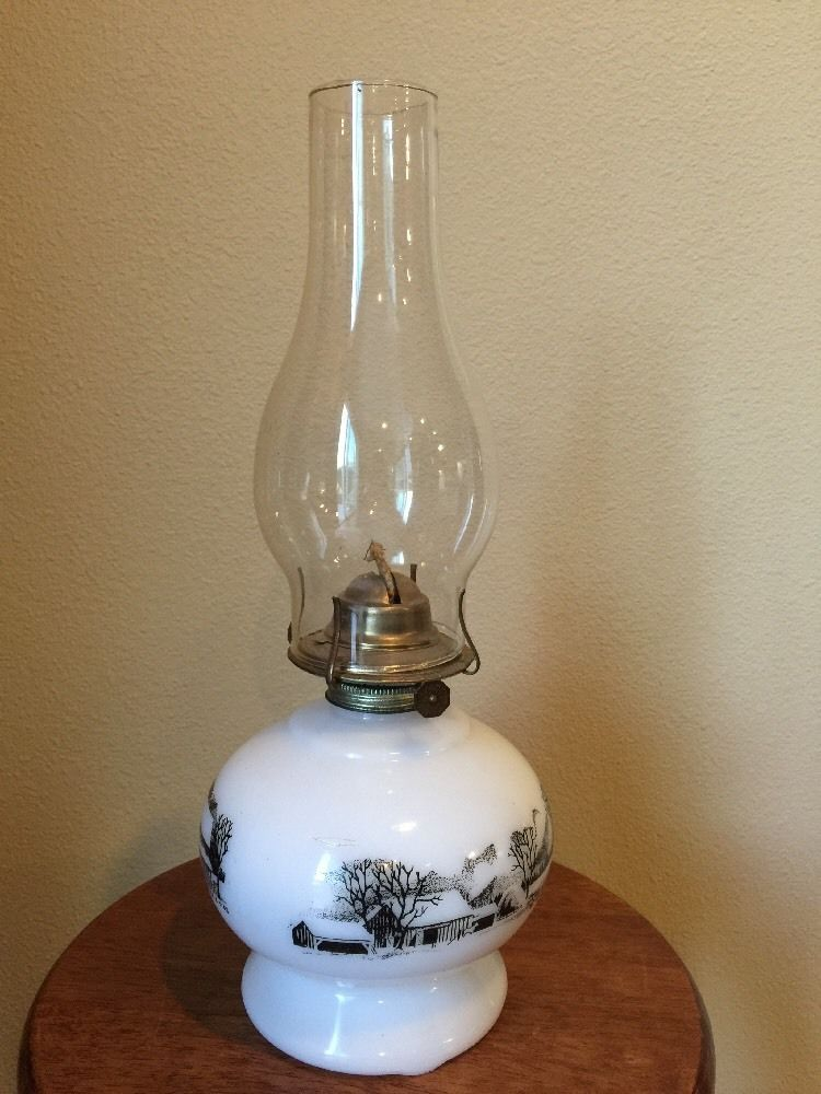 Vintage Currier Ives Oil Kerosene White Milk Glass Lamp With Chimney With Images Milk Glass Lamp White Milk Glass Lamp