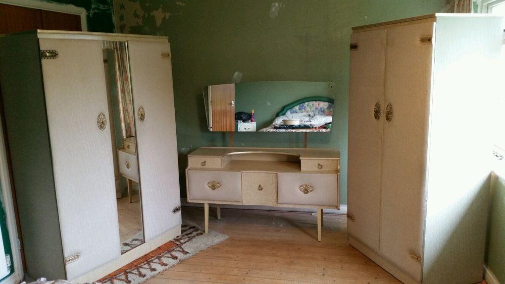 Padded Ivory Vinyl & Formica Wardrobes & Dresser Bedroom Set. Retro ...