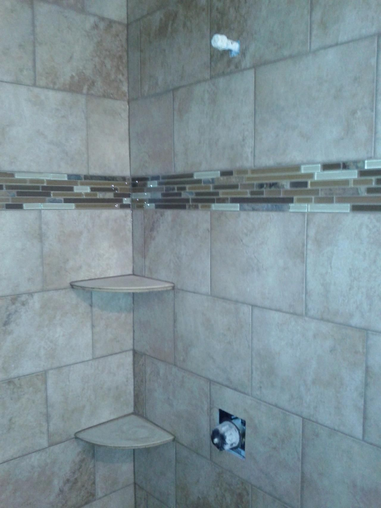 This Digital Photography Of Brick Pattern Tile Shower with Shelves