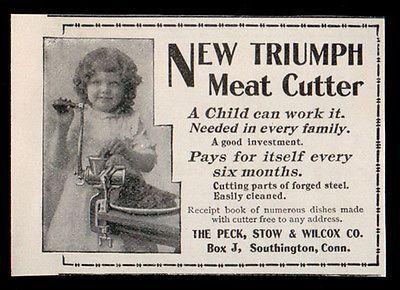 Triumph Meat Cutter Chopper Antique 1898 Kitchen Gadget Food Processing AD