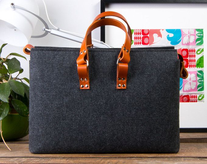 15 Macbook Felt Briefcase Office Outfits Bag And Leather Laptop Case Oversized Handbag Gift For Him Christmas