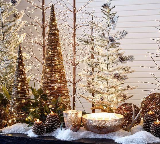 Pre Lit Snowy Crystal Trees Brown With White Crystals