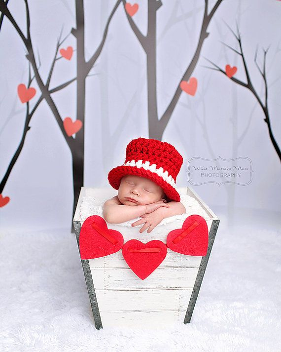 Photo of Items similar to Baby Boy or Girl ChristmasTop Hat  – Newborn Photo Prop – Love – REBORN Doll – Made to Order – RED and White or ANy Colors on Etsy