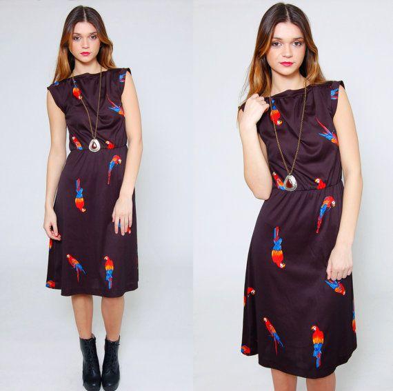 Vintage 80s BIRD Print Dress Black Sleeveless Novelty Print Dress by LotusvintageNY