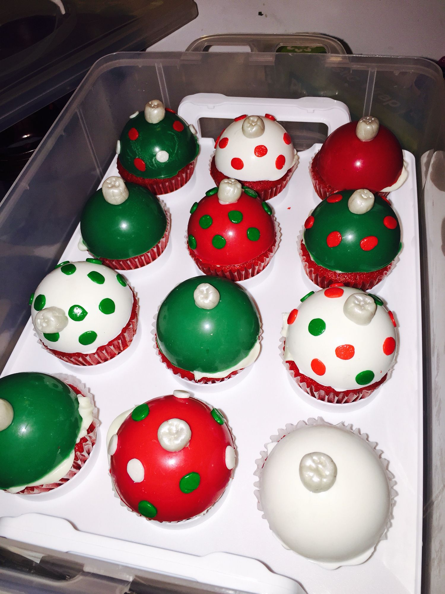 Christmas Ornament cupcakes from Cocalicious Cupcakes