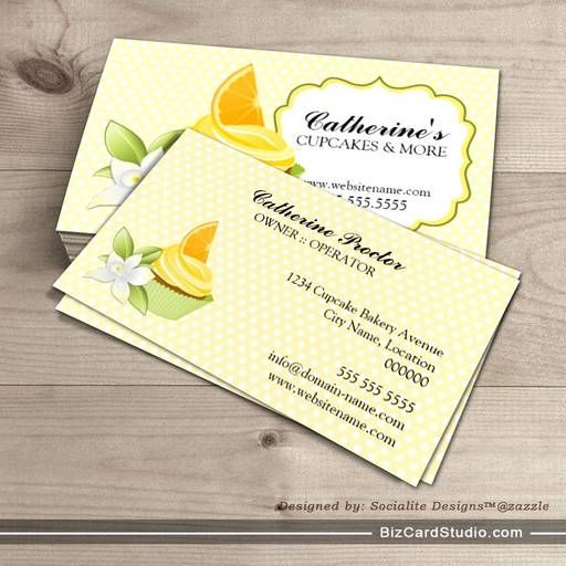 Orange Slice Cupcake Bakery Business Cards
