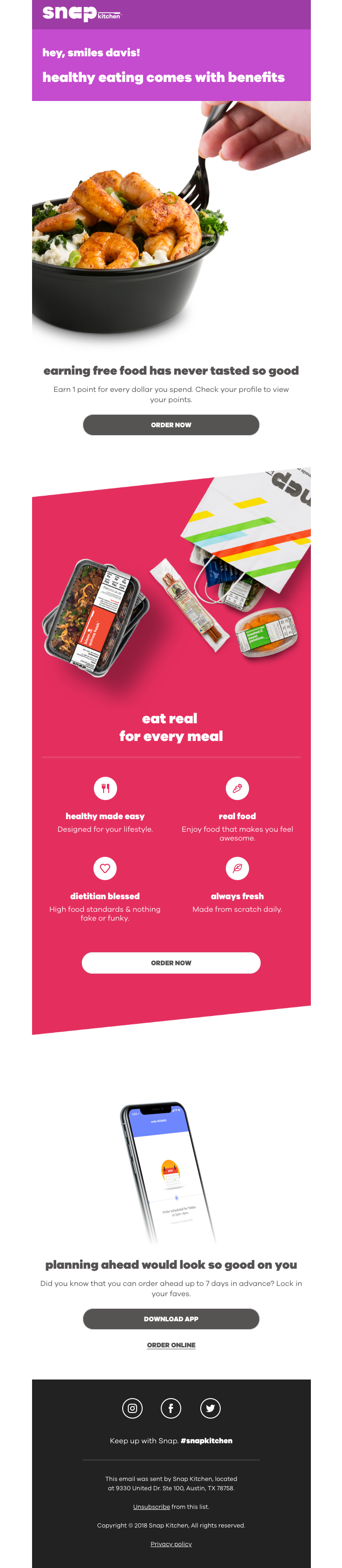 @snapkitchen sent this email with the subject line: Our