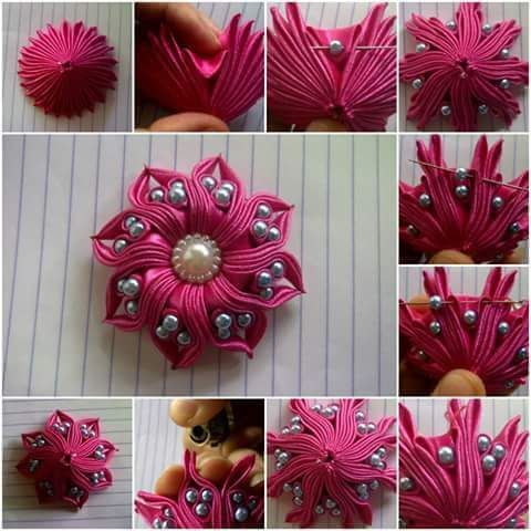 Best 12 DIY Ribbon flower with beads/ grosgrain flowers with beads tutorial – SkillOfKing.Com #ribbonflower