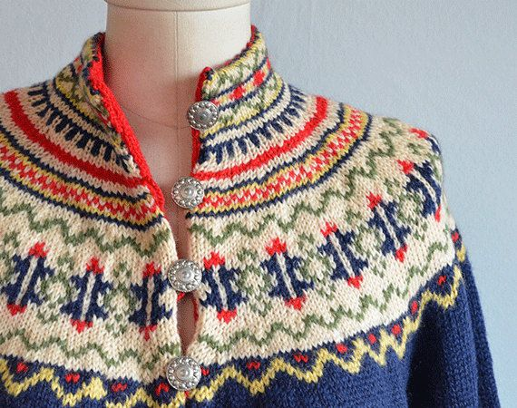 Vintage Norwegian sweater Scandinavian wool Sweater Nordic pattern sweater Red white Knit Sweater Wool cardigan Size Large
