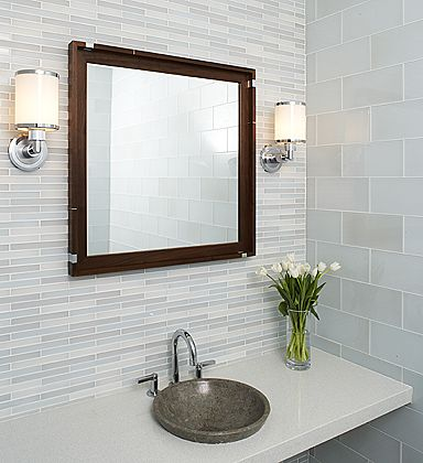I'm really feeling this for the bathroom. Thin tile for tub surround, subway tile for back wall and counter backplate. Lovin this.