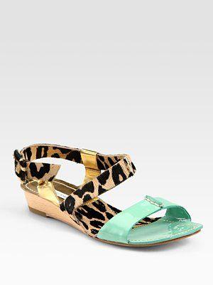 Diane von Furstenberg Leopard-Print Calf Hair Sandals