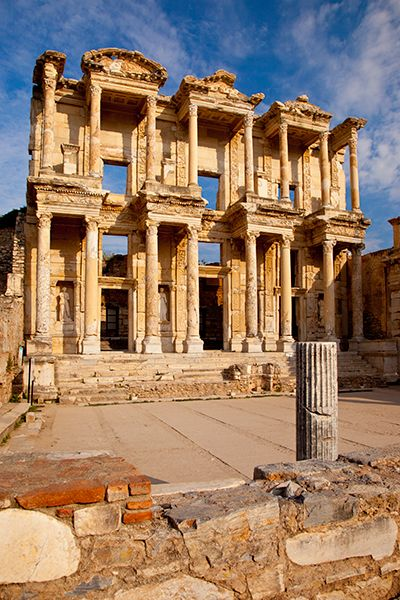 The ancient Library of Celsus in Ephesus, Anatolia, Turkey