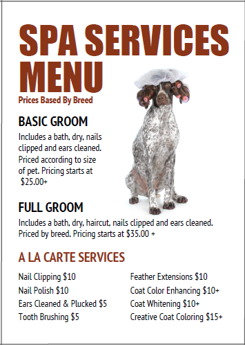 Price List Templates Dog Grooming Price Menu Template From Httpwww.thegroomerssecret .