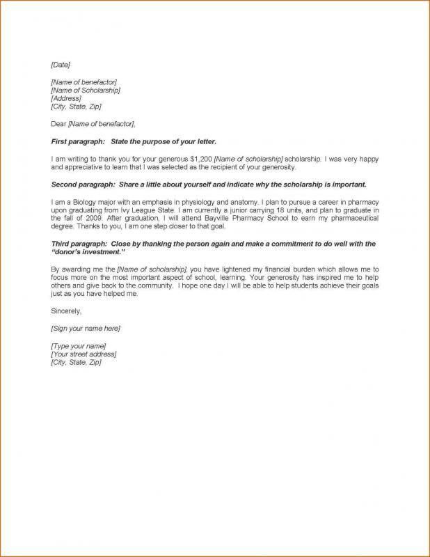 Scholarship Thank You Letters Sample template Pinterest Letter