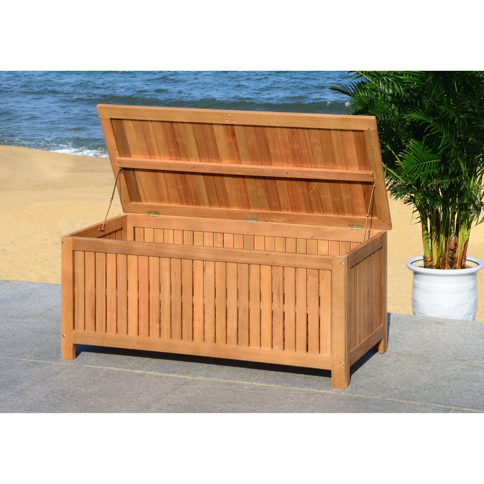 Safavieh Abri Indoor Outdoor Wood Storage Box Patio Storage