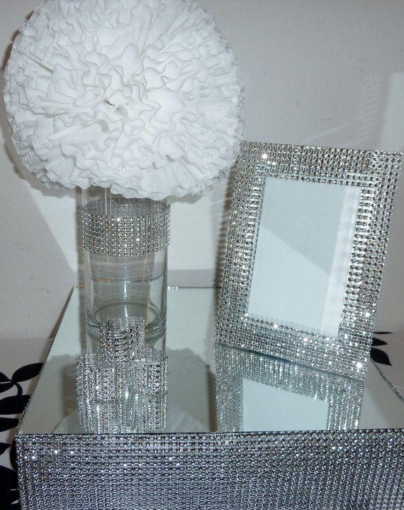 5x7 silver bling rhinestone wedding frame table number glamorous ...