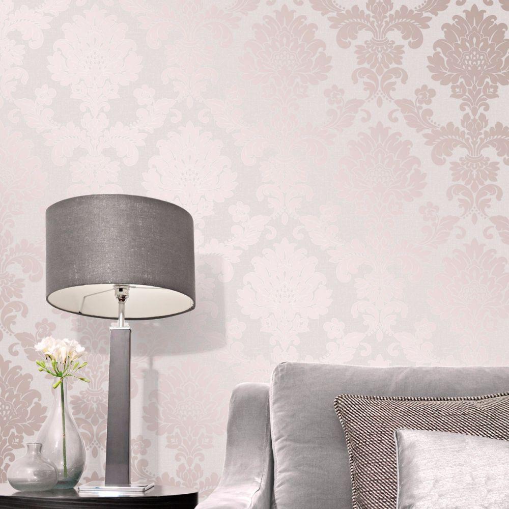 Fine Decor Quartz Damask Wallpaper Rose Gold Fd42204 Damask Wallpaper Bedroom Pink Bedroom Decor Pink And Gold Wallpaper