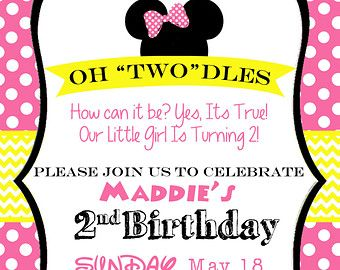 Minnie Mouse 2nd Birthday Party Invitation Pink