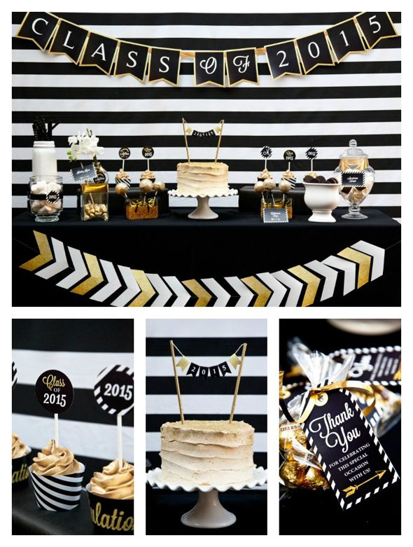 black and gold graduation party graduation party ideas pinterest bal de promo. Black Bedroom Furniture Sets. Home Design Ideas