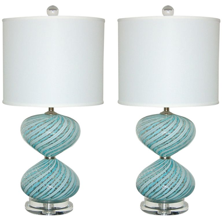Pair Of Vintage Murano Bedside Lamps By Dino Martens From A Unique Collection Antique