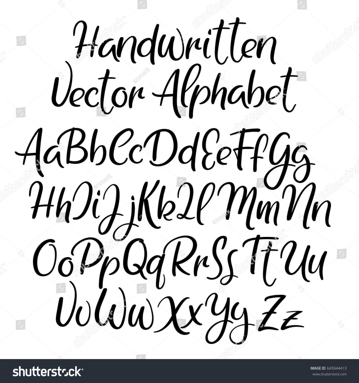 Modern Calligraphy Font Handwritten Brush Letters Uppercase Lowercase Hand Lettering Fonts Handwriting Alphabet Hand Lettering Alphabet Lettering Alphabet