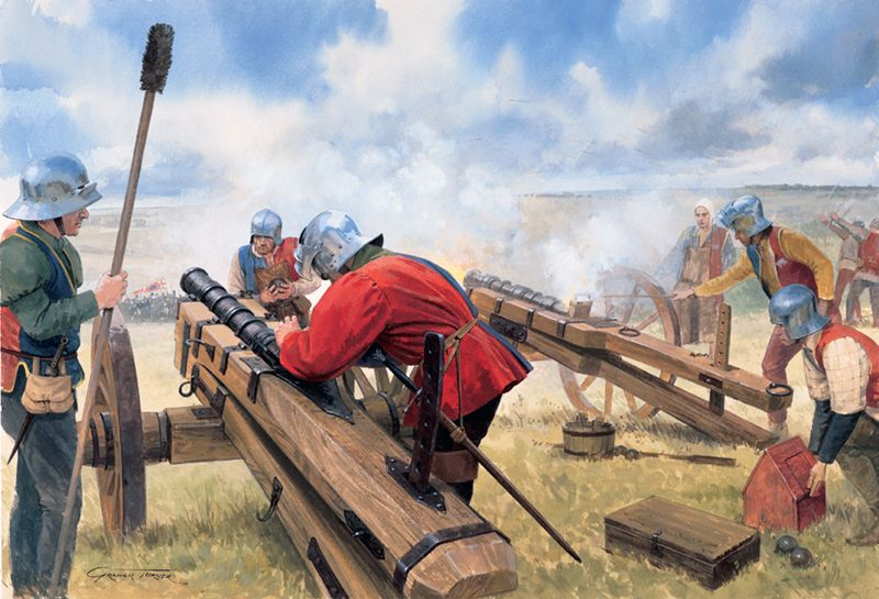 """Royal gunners open fire from the crest of Ambion Hill at the beginning of the battle of Bosworth, 1485"", Graham Turner"