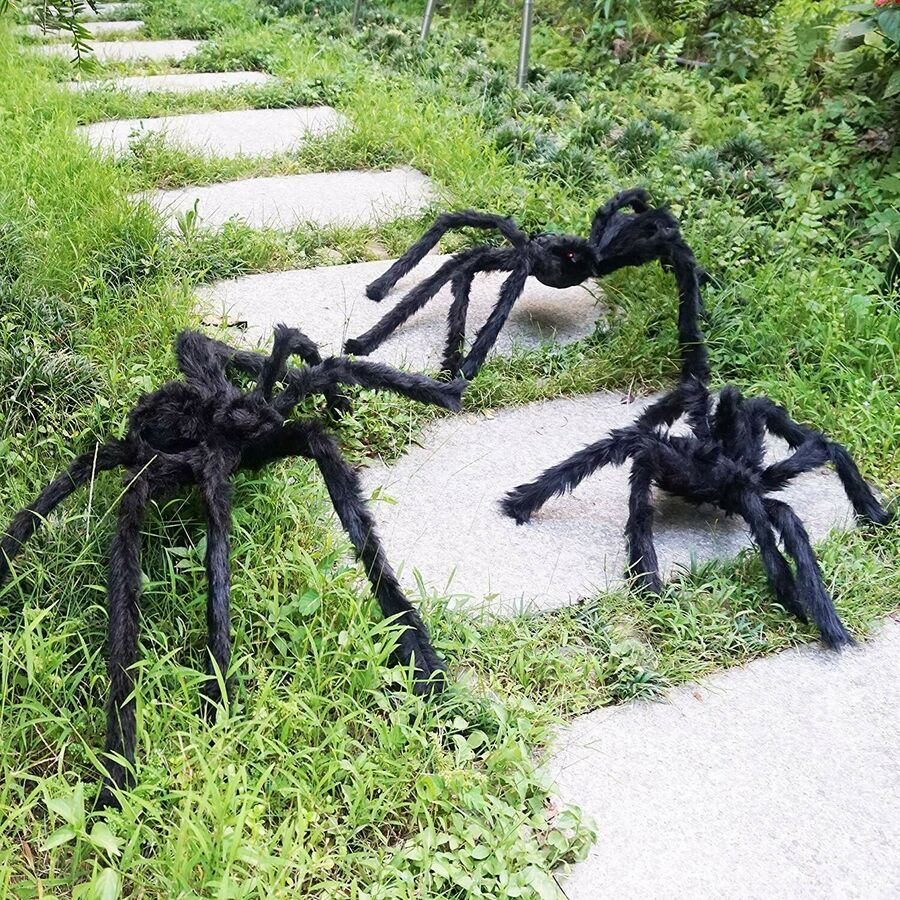 Realistic Hairy Three Spiders Giant Halloween Spider Web Decorations Props 822450781342 Ebay Ad Spider Web Decoration Halloween Spider Web Props For Sale