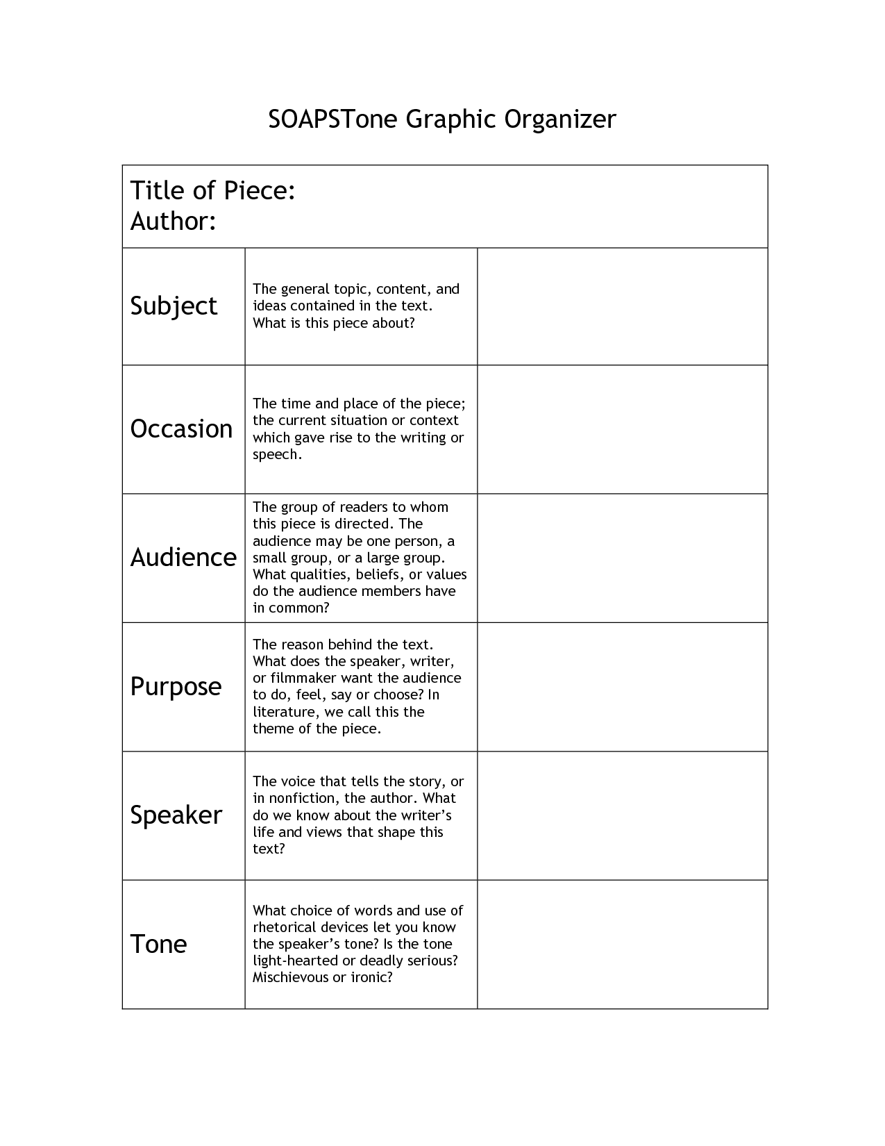 worksheet Rhetorical Analysis Worksheet the soapstone strategy works well when reading a story because it worksheets templates google search