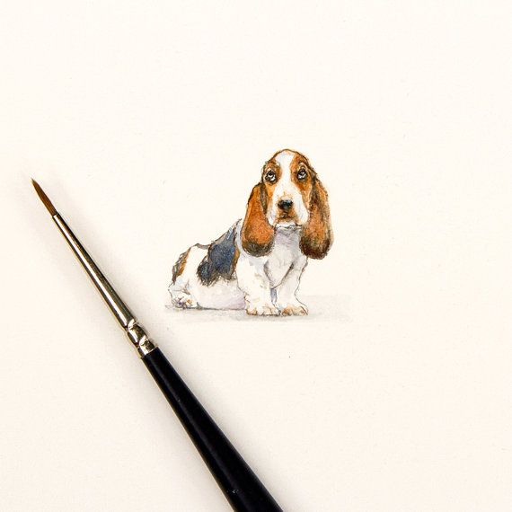 Miniature painting of Bassett Hound Dog 5x 5 by KarenLibecap