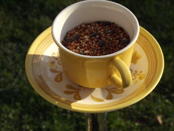 Teacup birdfeeder MelloYello by gogogarden on Etsy
