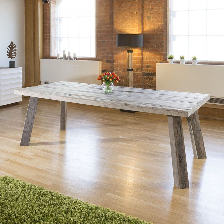 Massive 2 4 X 1m Aged Oak Rectangular Dining Table Grey Top And